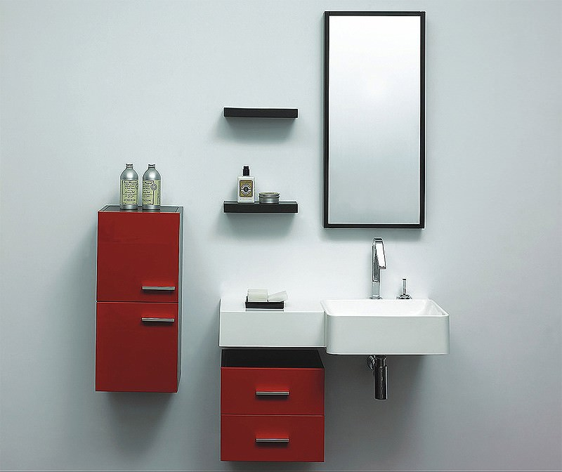 Large Image of Lauren Murphy Red Designer Bathroom Furniture Vanity Unit Complete