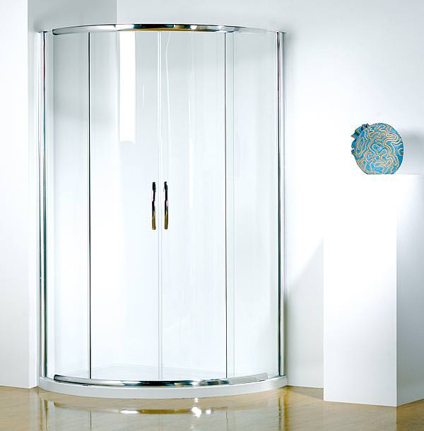 Large Image of Infinite 1000x810 LH Curved Center Access Slider Door With Tray And Waste