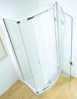 1200mm Bowed Left Handed Hinged Door With Tray And Waste