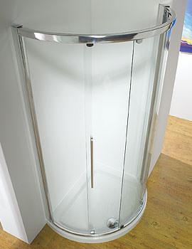 Original 1000mm White Curved Slider Door Side Access + Tray + Waste