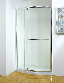 Original 1200mm White Bowed Pivot Door With Tray And Waste