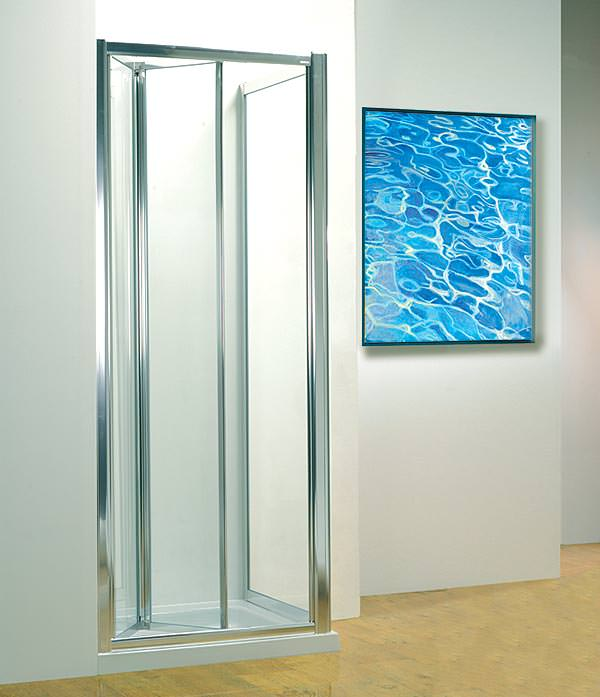 Large Image of Kudos Original 900mm White Bi-fold Shower Door With Tray And Waste
