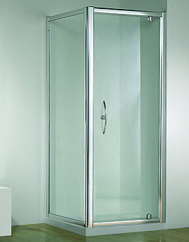 Original 760mm White Straight Pivot Shower Door With Tray And Waste