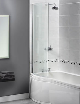 Shine Curved Bath Screen 710 x 1500mm - FBS0274AQU