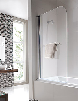 Geo6 Single Panel Left Handed Bath Screen 1500 x 850mm