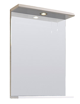 Lauren Mayford Gloss White 550mm Mirror With Lighting Canopy