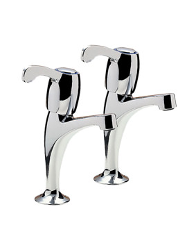 Tre Mercati Capri Lever Chrome Pair Of High Neck Pillar Taps - 3616