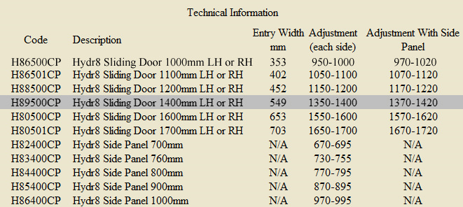 Twyford Hydr8 Sliding Shower Enclosure Door 1400mm H89500cp