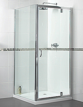 Aqualux Shine Pivot Shower Door 760mm Polished Silver - FEN0895AQU