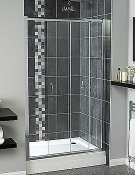 Aqualux Shine Sliding Shower Door 1200mm Polished Silver - FEN0903AQU
