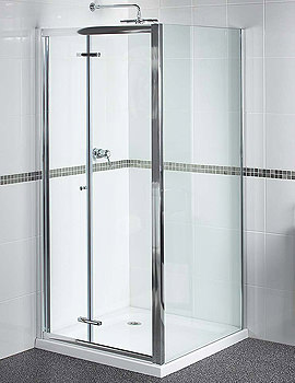 Aqualux Shine Bi Fold Shower Door 760mm Polished Silver 1160413