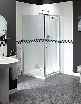 Aqualux Shine Telescopic Pivot Shower Door 760-900mm - FEN0894AQU