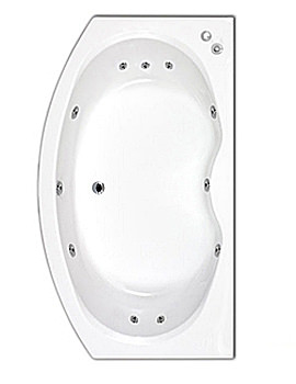 Trojan Corsica Bow Fronted Whirlpool bath 1700 x 970mm - CORBM145
