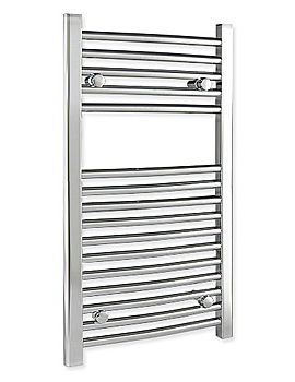 Curved 500 x 800mm Chrome Towel Rail - CURCR5080