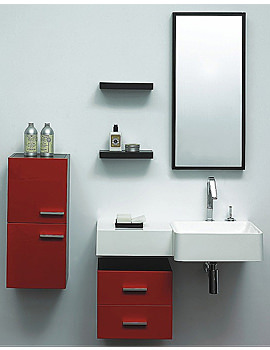Image of Lauren Murphy Red Designer Bathroom Furniture Vanity Unit Complete