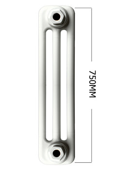 Roma White 3 Column Radiator 8 Section 750 x 400mm - 3C7.5H400