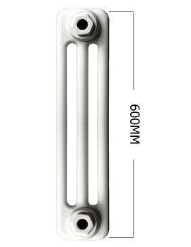 Roma White 3 Column Radiator 8 Section 400 x 600mm - 3C6H400