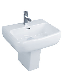 Metropolitan 1 Tap Hole Basin With Semi Pedestal 525mm