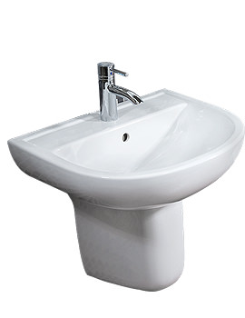 Compact 1 Tap Hole Basin With Semi Pedestal 460mm - COM46BAS1
