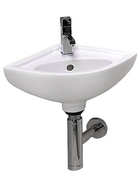 Compact 1 Tap Hole Wall Hung Corner Basin - COMCNRB1