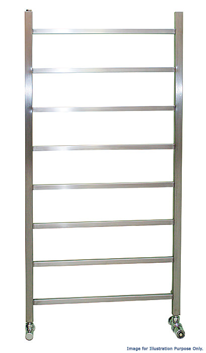 Large Image of Apollo Genova Brushed Stainless Steel Towel Rail 600 x 1200mm