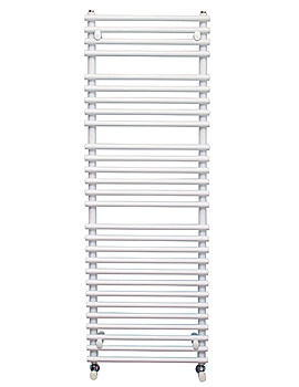 Pavia 500mm Wide Tube-on-Tube White Towel Warmer