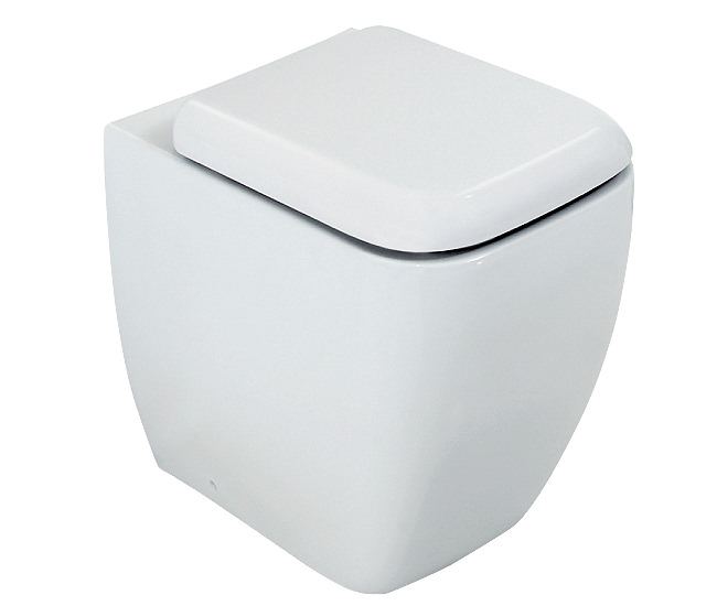 Large Image of RAK Metropolitan Back To Wall WC Pan With Standard Toilet Seat 525mm