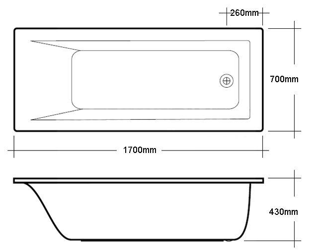 Rak metropolitan 1700 x 700mm single ended easyflow for Standard bath width