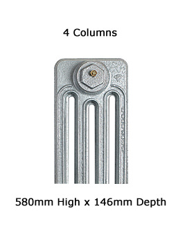 Apollo 4 Column Cast Iron Radiator 580mm High - 6 To 20 Sections