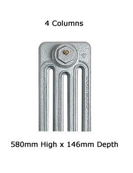 Firenze 6 Sections 4 Column Cast Iron Radiator 580mm