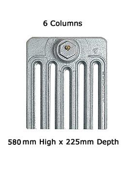 Firenze 6 Sections 6 Column Cast Iron Radiator 580mm