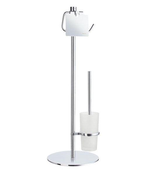 Outline toilet roll holder and toilet brush with glass Glass toilet roll holder