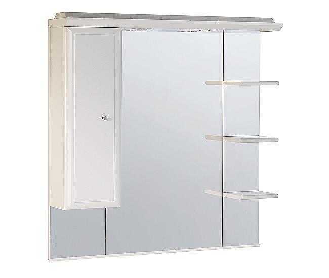 Large Image of Roper Rhodes Valencia 1000mm Mirror With Shelves - Cupboard And Canopy