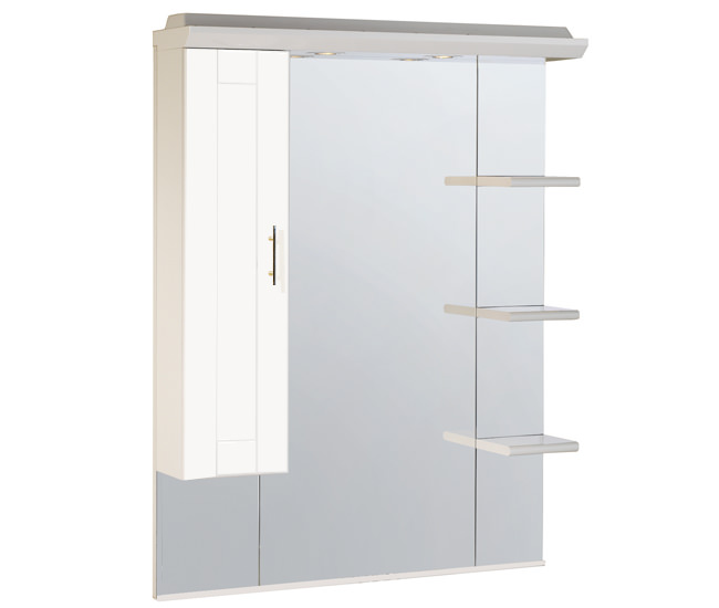 Large Image of Roper Rhodes New England 800mm White Mirror With Canopy-Shelves-Cupboard