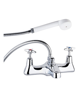 Cross Handle Deck Mounted Bath Shower Mixer Tap With Shower Kit
