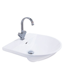 Reserva 1 Tap Hole Semi Recessed Basin 550mm - RES55SRBAS1