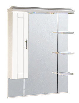 Image of Roper Rhodes New England 800mm White Mirror With Canopy-Shelves-Cupboard