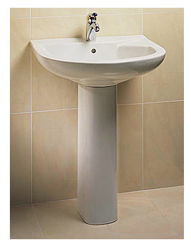RAK Jema 1 Tap Hole Basin With Full Pedestal 635mm Wide
