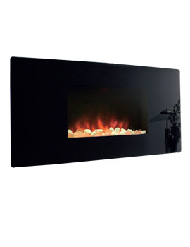 Celsi Accent Curved Wall Mounted Black Finish Electric Fire