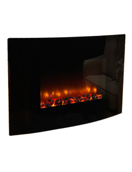 Orlando 36 Curved Remote Control Electric Fire Black - 33111