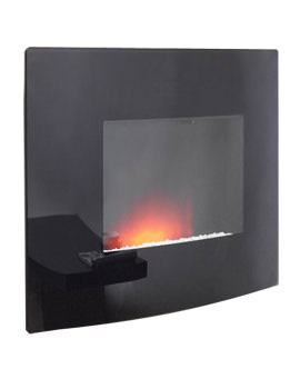 Dante Curved Wall Mounted Remote Control Electric Fire Black - 23809