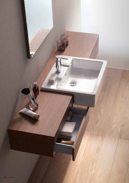 Large Image of Fogo Console With Drawer For Semi Recessed Washbasin 1600mm FO8385