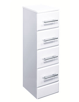Lauren Gloss White 4 Drawer Bathroom Storage Unit 300 x 330mm