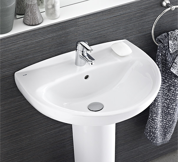 Roca laura 2 tap holes cloakroom basin 450mm wide for Roca cloakroom basin