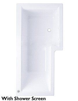 Trojan Elite L Shaped Shower Bath 1675 x 850 - 700mm White