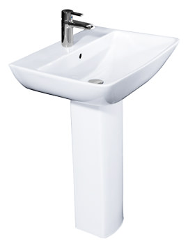 Summit 1 Tap Hole Basin With Full Pedestal 600mm