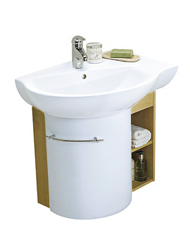 Twyford Visit Offset White 700 x 500mm Washbasin And Furniture Unit