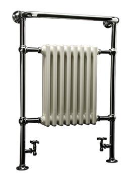 DQ Heating Croxton Chrome Heated Towel Rail 509 x 956mm - Floor Mounted