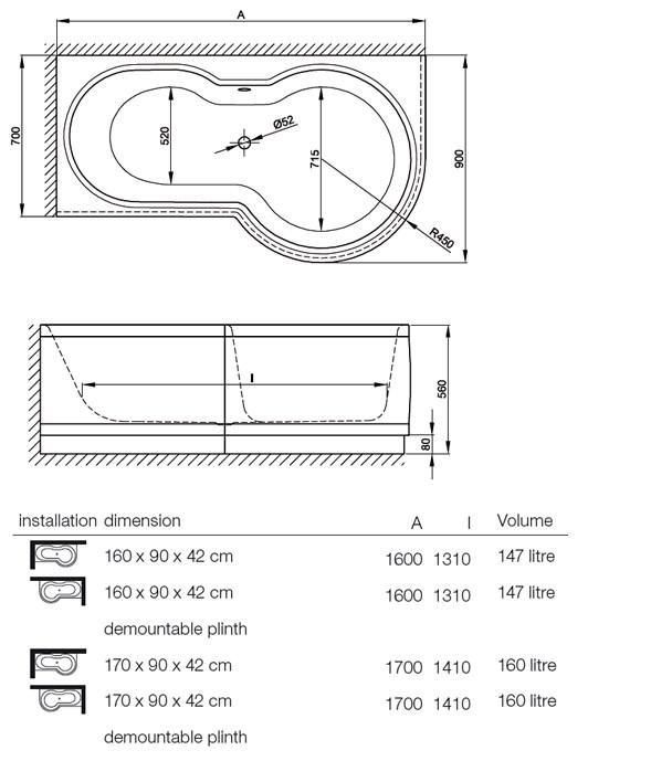bette cora ronda super steel shower bath 1700 x 900mm kaldewei ambiente single ended amp shower steel baths