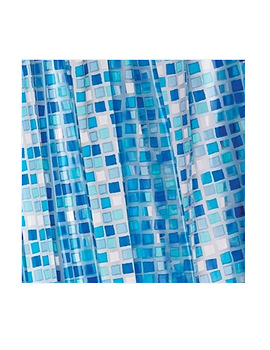 Croydex Blue Mosaic PVC Shower Curtain - AE543424